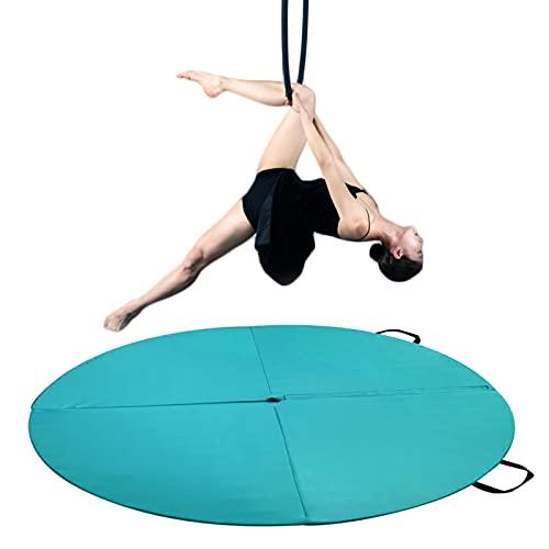 Pole Dancing Crash Mat, Folding Gymnastic Yoga Fitness Mat Shock Absorption Safety Crash Mat, Stripper Beginner Thickened Dance Protection Mat, 2 Meters (79 Inches) Diameter,Green,200cm*5cm