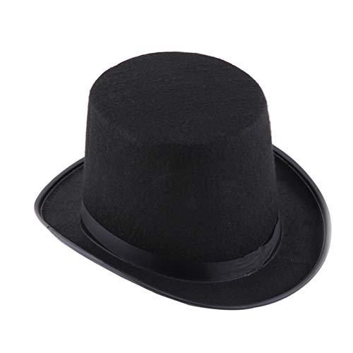 Beaupretty - Sombrero de Cilindro Negro Divertido para Fiestas, Vestidos, Sombreros, Sombreros de Mago, de Fieltro, para Adultos, Disfraz, Disfraz, Suministros para Fiestas de Halloween