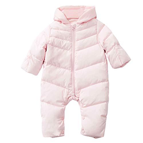 Bébé Combinaisons de Neige Barboteuse Duvet pour Bébé D'hiver à Capuche Imperméables Vêtements Rose 18-24 Mois