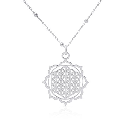 """WANDA PLATA, Halskette mit """"Blume des Lebens"""" für Damen, Halskette mit Anhänger aus 925er Sterlingsilber, Energie-Symbol, Ohne Stein,"""