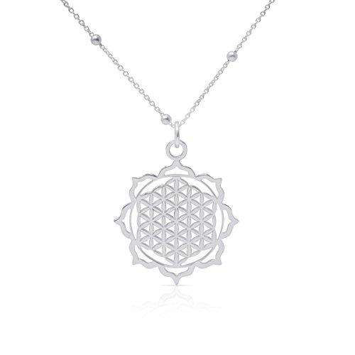 WANDA PLATA, Collar Flor de la Vida para Mujer, Colgante Plata de Ley 925 para Mujer, Incluye Cadena de 40 cm de Largo, Símbolo de energía (40)