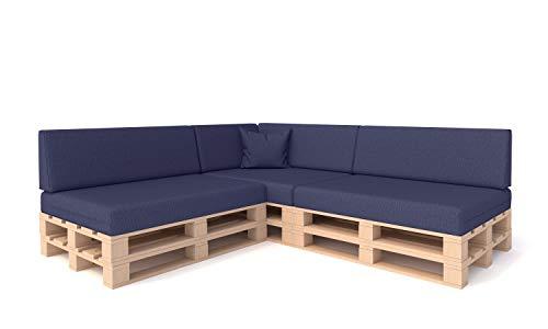 Pillows24 Palettenkissen 8-teiliges Set | Palettenauflage Polster für Europaletten | Hochwertige Palettenpolster | Palettensofa Indoor & Outdoor | Erhältlich Made in EU | Blau