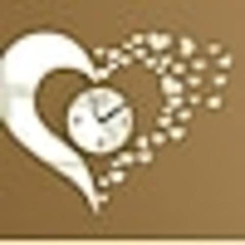 DIY reloj de pared, calcomanías de moda 3D corazón acrílico espejo pegatinas redondo reloj de pared/40 x 60 cm