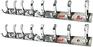 MAP 2 स्टेनलेस स्टील का पैक. प्रीमियम Fescue डुअल एज 8 पिन क्लॉथ हैंगर, WATHROOM वॉल .डोर हुक