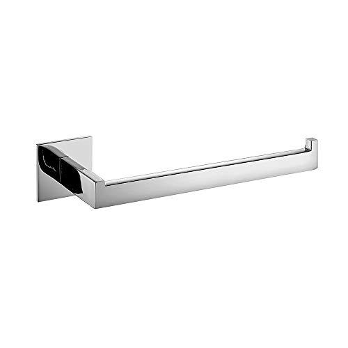 WOMAO Modern Glänzend Chrome Silbern Handtuchring Kurze Handtuchstange ohne Bohren zum Kleben Selbstkleben in Dusche Rostfrei, L27cm