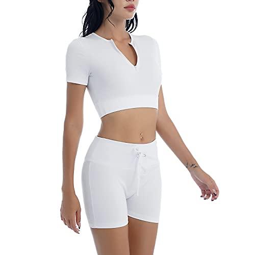 YOOJIA Mujeres Ropa Deportiva de Verano de 2 Piezas Traje de Yoga Gimnasia con Pantalones Cortos con Cordones Traje de Ocio para Deporte Blanco L