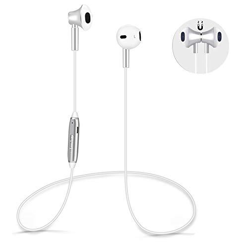 Bluetooth Kopfhörer Wireless in Ear Magetisch Headset, HD Stereo schweißfeste Sport Drahtlose Ohrhörer Kabellos Kompatibel iPhone x 8 7 6 6s und Andere IOS Android Bluetooth-Gerät (Silber weiß)*