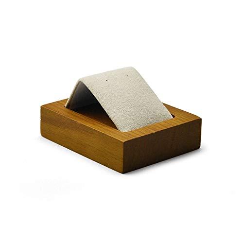 MJS Pendientes de Madera Maciza Gris o Beige Soporte de Pantalla de Pendientes con inserción de Microfibra Pendiente de Pendiente Organizador de Oreja Organizador Showcas (Color : SM02101 2pcs)