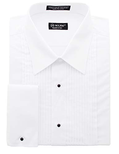 Milani Men's Tuxedo Shirt with French Cuffs 17', 34/35 White