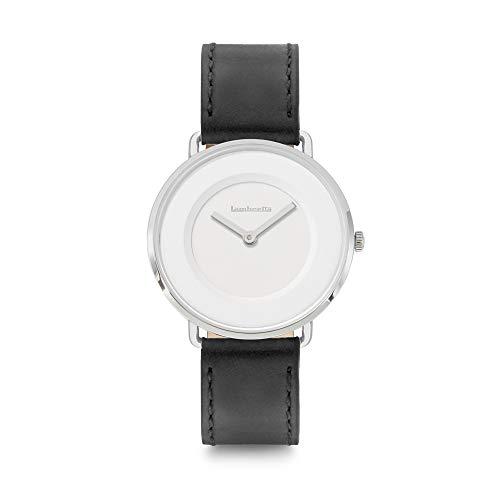 Lambretta Mia - Reloj de cuarzo analógico de acero blanco y piel negra para mujer