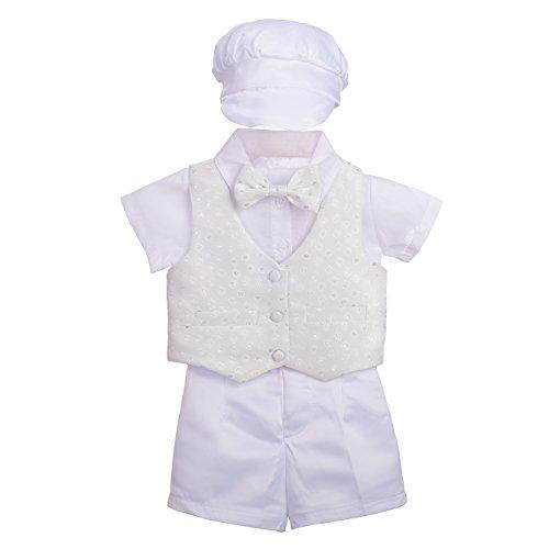 Lito Angels - Abito da battesimo per neonato bimbo, Completo bianco battesimo con papillon e cappello (Bianco, Manica corta) Taglia 9 mesi