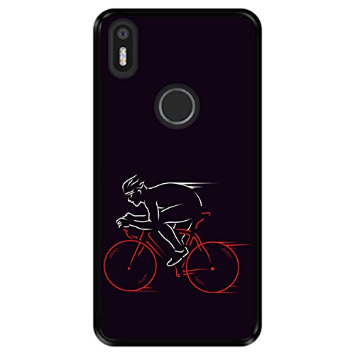 Hapdey Funda Negra para [ Bq Aquaris X5 Plus ] diseño [ Atleta, Ciclista en Bicicleta ] Carcasa Silicona Flexible TPU