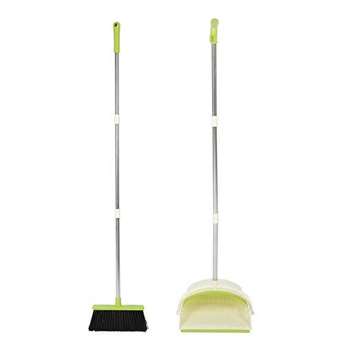 Aufrechte stehende Kehrschaufel, zusammenklappbare Kehrschaufel mit Reinigungs-Kehrbesen-Set für Haushaltswerkzeug-Langrohr(Grün)