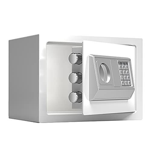 VIY Caja Fuerte Electrónica para Montaje en Pared o Suelo, Caja Fuerte Pequeña para Oficina o Uso doméstico Caja de Seguridad 20 x 31 x 20 cm,Blanco