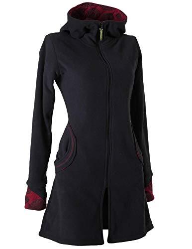 Vishes - Alternative Bekleidung - Warmer Elfen Kurzmantel mit Zipfelkapuze schwarz 38