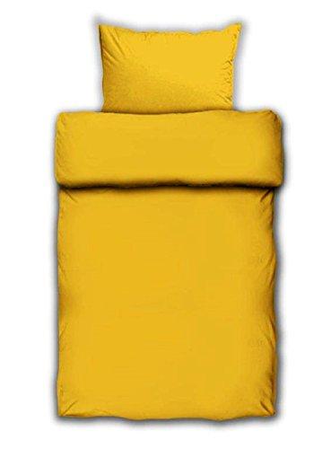 Bettwäsche Mako Satin Farbe Uni gelb Baumwolle m.Reissverschluss (135x200)