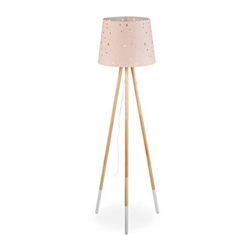 Relaxdays Stehlampe Kinderzimmer, E27, mit Kabel, Lampenschirm Stern-Motiv, Dreibein, Stoff, Holz, 147 cm hoch, rosa, 10032244_113