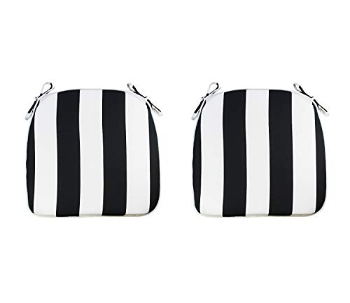 FBTS Prime Outdoor Chair Cushions (Set of 2) 16x17 Inch Patio Seat Cushions Black and White Stripe Square Chair Pads for Outdoor Patio Furniture Garden Home Office