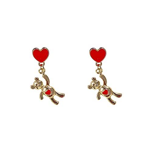 s925 aguja de plata rojo amor oso pendientes corazón de niña lindo dulce pendientes sencillos pendientes
