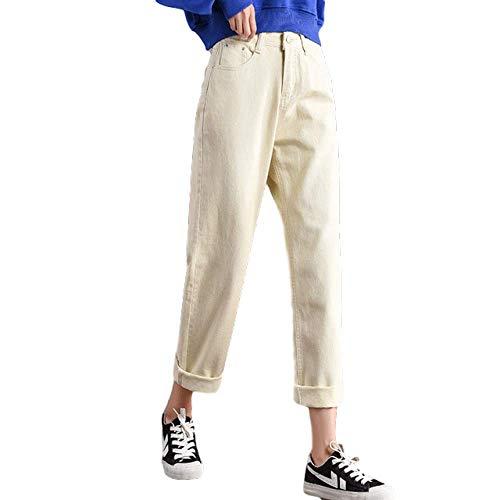 NOBRAND Neue Frauen 2020 Brand Fashion Jeans Schwarz Weiß Blau Haremshose Gewaschene Denim Hose Weibliche Lose Casual Jeans Vintage Mama Jeans Jeans Gr. 53, Aprikose Jeans