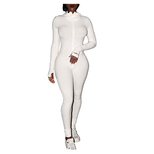 KINGOLDON Women Letter Print Zipper Jumpsuit Ribbed Rompers Sporty Fitness Embroidery Jumpsuit White