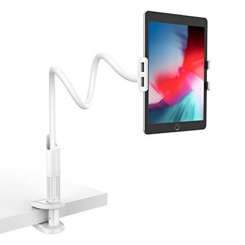 Schwanenhals Tablet Halter, Lamicall Tablet Halterung : Lazy Flexible Einstellbare Lang Arm Ständer für Pad Mini 1 2 3 4, Neu Pad Pro 2019, Pad Air, Phone, und Weitere 4,7-10,5 Zoll Tablets - Weiß