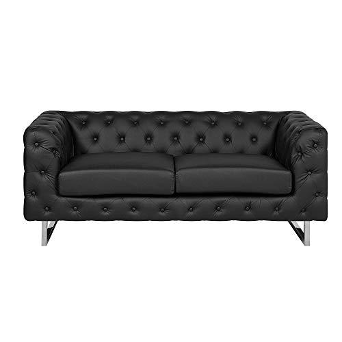 Beliani Luxuriöses 2er Sofa Kunstleder Chesterfield Stil schwarz Vissland