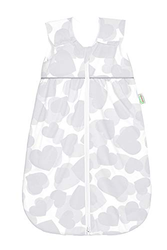 Odenwälder Babynest Anni Light Jersey Sommer Schlafsack 130 smart Hearts Light Grey