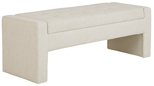 Madison Park Gillian Bedroom Décor, Stylish Flexible Seating Footboard Bench Fully Upholstered, Modern Luxe Accent Shoe Storage Ottoman for Living Room, Toy Box Room Organizer Cream