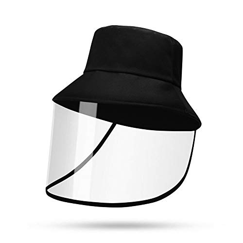 Sun Hat Protective with Cover Windshield Hats Detachable Ddjustable Dustproof Full Face Cap Outdoor Fishing Hat for Men and Women Black