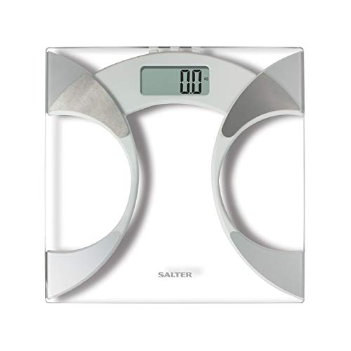 Salter Ultra Slim Analyser Bathroom Scales, Measure Weight BMI BMR Body Fat Percentage Body Water, Slim 25mm Design, Tough 6mm Glass with Carpet Feet, Easy to Read Digital Display - Glass