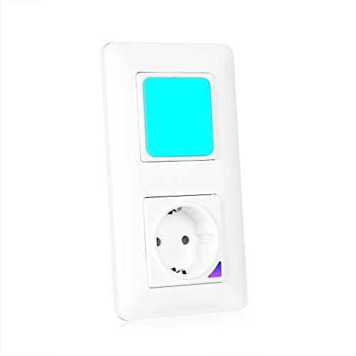 TEEKAR Smart WLAN Lichtschalter mit WiFi Smart Steckdose Unterputz, Voice APP Steuerung Smart Lichtschalter Eingebaut in 1-100% dimmbaren RGB Nachtlichtern, Timing Funktion In-Wall Lichtschalter