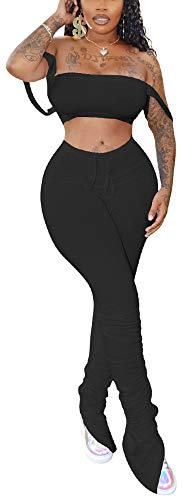 VKVKA Women's Sexy 2 Piece Outfits, Strap Crop Top Bodycon Ruched Leggings Set Tracksuit