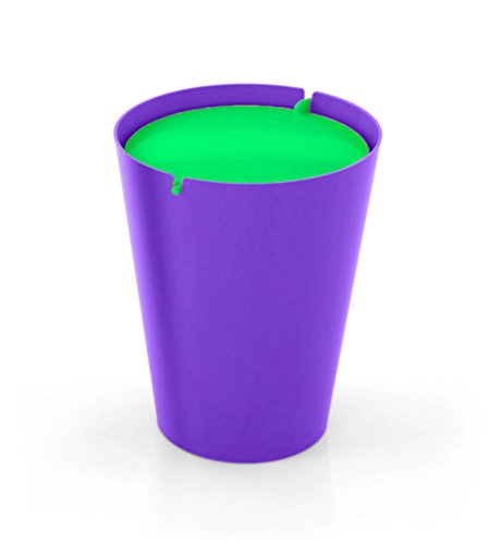 Outlook Design Italia Smarty Papierkorb mit Schwingdeckel, Kunststoff, Base violett, 24x 24x 30cm Modern 24x24x30 cm Viola/Verde