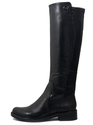 Caprice 25509 - Botas de Mujer de Piel Negra, caña calibrada elástica XXL, tacón bajo, Planta cómoda Negro Size: 37 EU