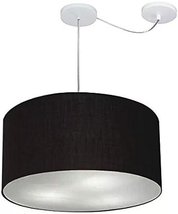 Lustre Pendente com Desvio de Centro Cúpula Tecido 45x25 cm, Vivare Iluminação, Pendente4236 PR, Preto, Médio