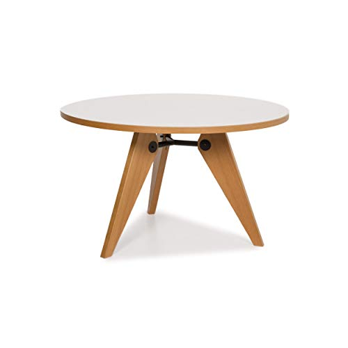 Vitra Guéridon Prouve Wood Dining Table White Round Table