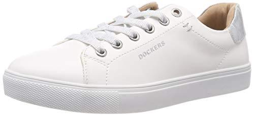 Dockers by Gerli Women's 44ma201-610591 Low-Top Sneakers, White (Weiss/Silber 591) 6/6.5 UK