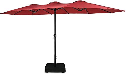 YRRA Patio 15 ft doppelseitige Regenschirm-Außenmarkt-Regenschirm mit Kurbel-Regenschirm-Basis enthalten-rot