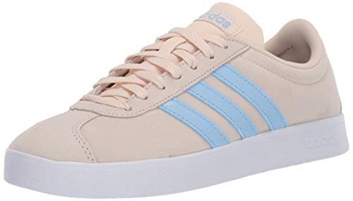 adidas Women's VL Court 2.0 Sneaker, Linen/Glow Blue/White, 8.5 M US