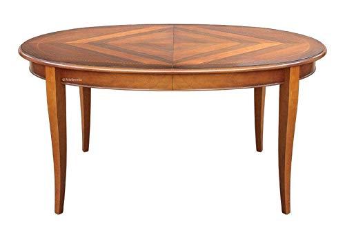 Arteferretto Table Ovale Dessus marqueté avec rallonge Interne, Dimensions Plateau 160x110, Table 8 Personnes