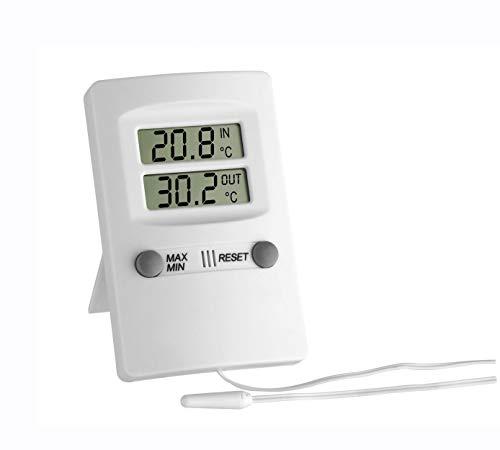 TFA Dostmann Digitales Innen-Außen-Thermometer, Innen- und Außentemperatur, Höchst- und Tiefstwerte, funktionales Design