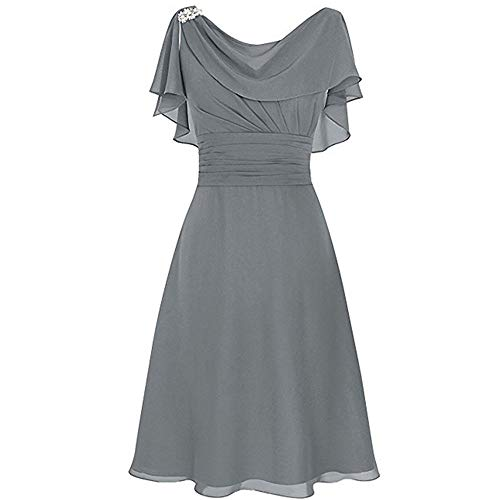 Aniywn Women Formal Wedding Bridesmaid Dress Plus Size High-Waist Party Ball Prom Gown Cocktail Dress Gray