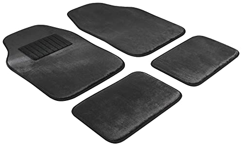 Walser Premium Autoteppich 12mm Velours, waschbare Universal Fußmatten, Automatten-Set 4-teilig schwarz, Automatten Velours schwarz 29044