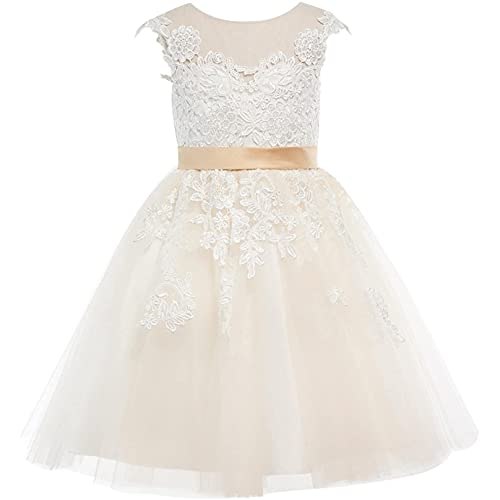 Flower Girl Formal Vintage Sequin Dress,Children's Lace Tulle Wedding Dress Flower Girl Dress Junior Bridesmaid Dress Beige