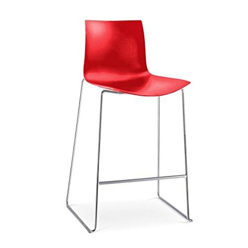 Catifa 46 0471 barkruk eenkleurig frame chroom, rood buitenschaal glanzend binnen mat BxDxH 62,5 x 54 x 111 cm frame staal verchroomd
