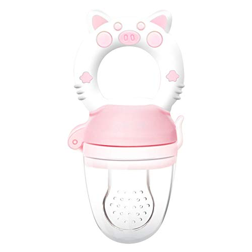 Baby Fresh Food Feeder with Dust Cover, Nibbler Pacifier Training Massaging Toy Teether, Teething Stick Nibble Piggy Ring Handle Gum Massage (Pink)