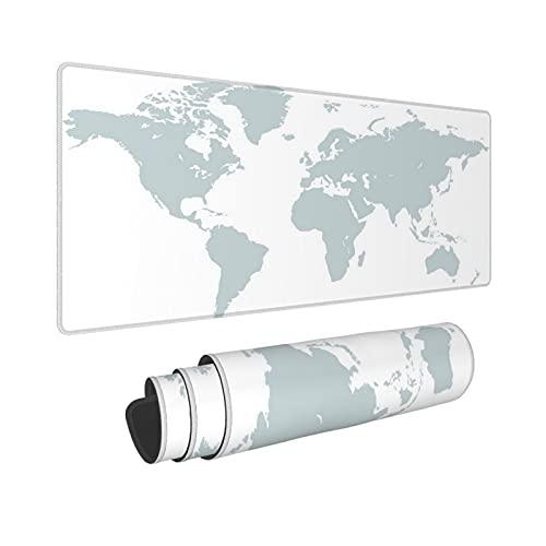 Minalo Extra Grande Alfombrilla de Ratón con Bordes Cosidos,XXL-90 x 40 x 0.3cm,Mapa del Mundo,Alfombrilla de Escritorio para el Trabajo Juego Computadora Portátil