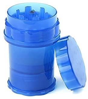 Grinder de Plástico 62mm- Grinder de 4 Piezas con Polinizador - Grinder para Especias - Molinillo de Hierbas (Color: Azul)