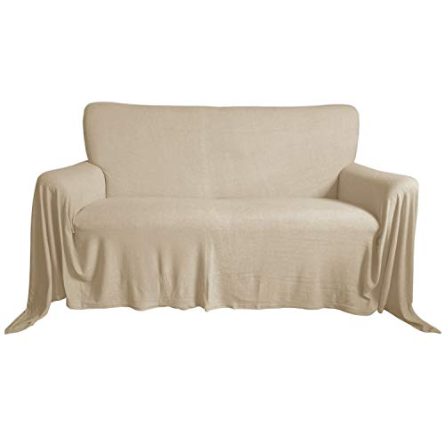 Nurtextil24 Sofaüberwurf Frottee Baumwolle Elastisch (weitere Variante verfügbar) Couch Überwurf Beige 240 x 250 cm